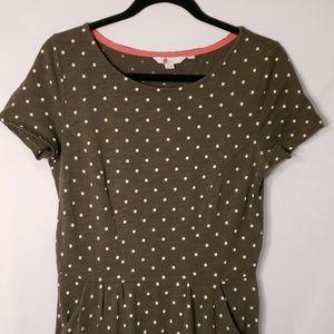 Boden Gray & White Polka Dot Dress W/ Pockets